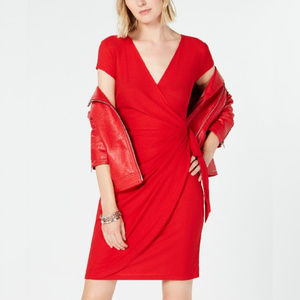 I.N.C. Red Cap-Sleeve Faux-Wrap Dress